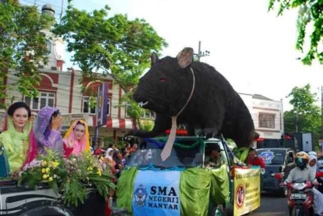 12 Jalan Tikus Di Jakarta Nyang Udeh: Pawai 'Tikus Raksasa' Berjubah 'Uang' Diarak Ke Kridosono