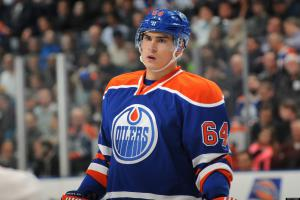 EDMONTON, CANADA - APRIL 10: Nail Yakupov #64 of the Edmonton Oilers prepares for a face off against the Phoenix Coyotes on April 10, 2013 at Rexall Place in Edmonton, Alberta, Canada. (Photo by Andy Devlin/NHLI via Getty Images)