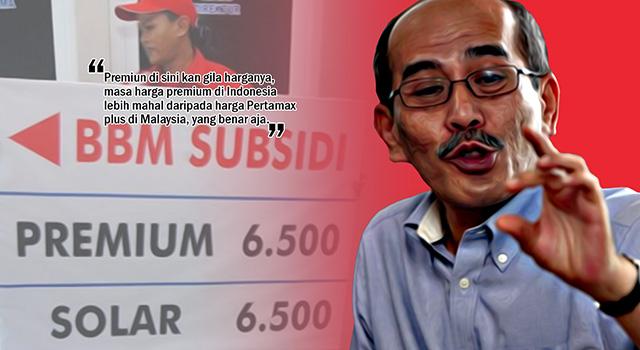 Faisal Basri - Harga BBM jenis premium Pertamina lebih mahal dibandingkan dengan BBM jenis Pertamax Plus di Malaysia. (ilustrai/aktual.com)