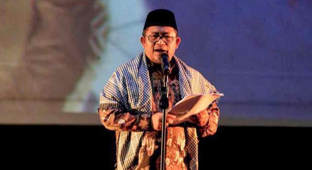 Dewan Syuro PUI sekaligus Gubernur Jawa Barat Ahmad Heryawan menyampaikan sambutan dan puisi dalam acara TERJEBAK, di Gedung Pusat Perfilman Usmar Ismail, Kuningan, Jakarta Selatan, Kamis (16/2/2017) malam. AKTUAL/HO