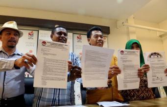 Partai pengusung pasangan calon nomor urut tiga John Tabo-Barnabas Weya yang tergabung dalam Tim Koalisi Cinta Damai mengapresiasi sikap Panwaslu daerah untuk dilakukannya PSU pada semua TPS di 18 distrik di Tolikara, Papua. AKTUAL/Munzir