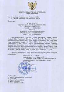 Surat Edaran (SE) Menkominfo yang berisi imbauan kepada lembaga penyiaran, baik radio mupun televisi di Bali untuk menghentikan siaran pada hari raya Nyepi (Aktual/Bobby Anddalan)