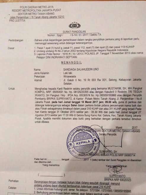 Upaya Kriminalisasi Sandiaga Uno, Jelang Pilkada DKI ...