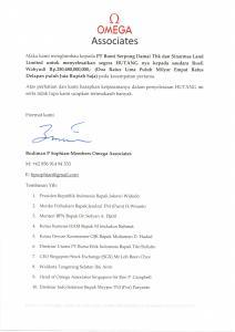 surat dari Omega Associates yang ditunjukan kepada Group CEO Sinar Mas Land Michael Widjaja (Dok Aktual)