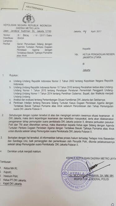 Surat Polda Metro Jaya [Ist]