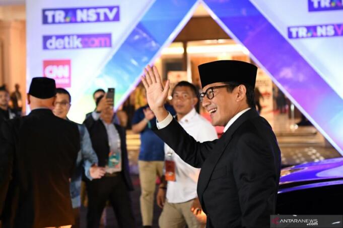 Sandiaga Uno Tiba di Hotel Sultan untuk Debat Ketiga