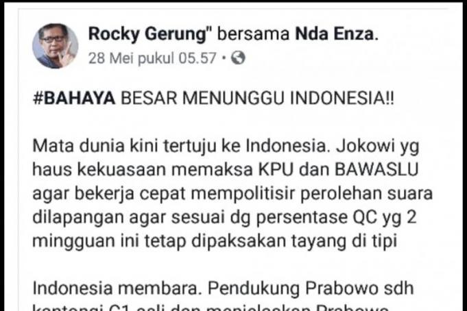 Aliansi Relawan Jokowi (ARJ) melaporkan akun media sosial Facebook bernama Rocky Gerung ke Polda Metro Jaya karena akun tersebut menyebut calon presiden Joko Widodo (Jokowi) rakus.