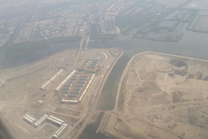 Penampakan Pulau C dan D dari atas udara, Jumat (19/10/2018). Pulau C dan D adalah bagian dari 17 pulau proyek reklamasi yang tadinya sempat akan dibangun di Teluk Jakarta.(Kompas.com/Alsadad Rudi) Artikel ini telah tayang di Kompas.com dengan judul