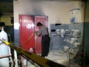 Ruang genset yang diduga terbakar di SPBU Pos Pengumben, Kembangan, Jakarts Barat, Selasa (28/1/2020) malam(kpsc).
