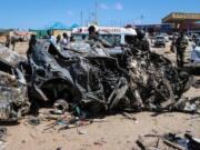 Foto: Bom mobil meledak di Somalia (AFP)