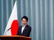 Menteri Lingkungan Jepang Shinjiro Koizumi di konferensi pers di kediaman Perdana Menteri Shinzo Abe, Tokyo, Jepang, 11 September 2019. (REUTERS/Issei Kato)