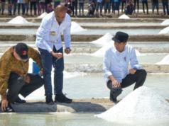 Presiden Jokowi (kanan) didampingi Menteri Perindustrian Airlangga Hartarto (kiri) dan Gubernur NTT, Viktor Laiskodat (tengah) meninjau tambak garam di Desa Nunkurus, Kecamatan Kupang Timur, Kabupaten Kupang, NTT. (Foto: Humas Setkab)