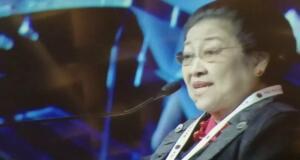 Ketua Umum DPP PDI Perjuangan, Megawati Soekarnoputri, saat memberikan sambutan pada Rakernas I PDI Perjuangan dan HUT Ke-47 PDI Perjuangan, di JIExpo Kemayoran, Jakarta, Jumat (10/1/2020). ANTARA/Syaiful Hakim