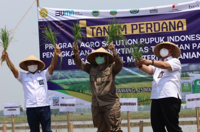 Wakil Menteri Pertanian (Wamentan), Harvick Hasnul Qolbi saat (tengah) saat menghadiri kegiatan Tanam Perdana di Karawang, Jawa Barat/foto: Istimewa