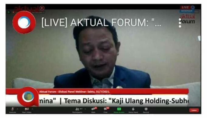 Tangkapan layar Presiden FSPPB, Arie Gumilar dalam sebuah webinar yang bertajuk 'Kaju Ulang Holding Subholding dan IPO Anak Usaha Inti PT Pertamina (Persero) yang selenggarakan Aktual.com, Jakarta, Sabtu (31/7)