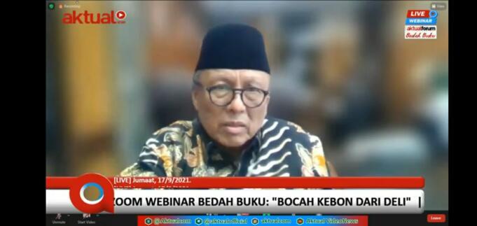 Ketua Muda bidang Tata Usaha Negara (TUN) di Mahkamah Agung RI, Prof. Dr. Supandi, S.H., M.Hum, saat bedah buku 'Bocah Kebon dari Deli' yang diselenggarakan Aktual Forum, Jakarta, Jumat (17/9/2021)