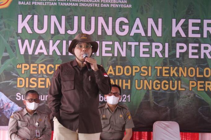 Wakil Menteri Pertanian RI, Harvick Hasnul Qolbi saat mengunjungi Balai Penelitian Industri dan Penyegar (Balittri), Kabupaten Sukabumi, Kamis (16/9). (Foto: Warnoto/AKTUAL)