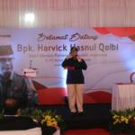 Sambutan Wakil Menteri Pertanian Harvick Hasnul Qolbi, di PT RASS Mandiri, perusahaan yang bergerak di sektor importir daging, di Jl Raden Inten, Jakarta Timur Rabu (15/9). AKTUAL / WARNOTO