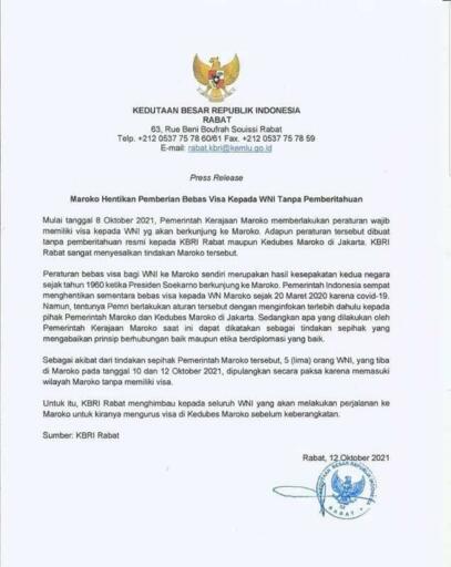 Pernyataan Pers KBRI Rabat, Maroko