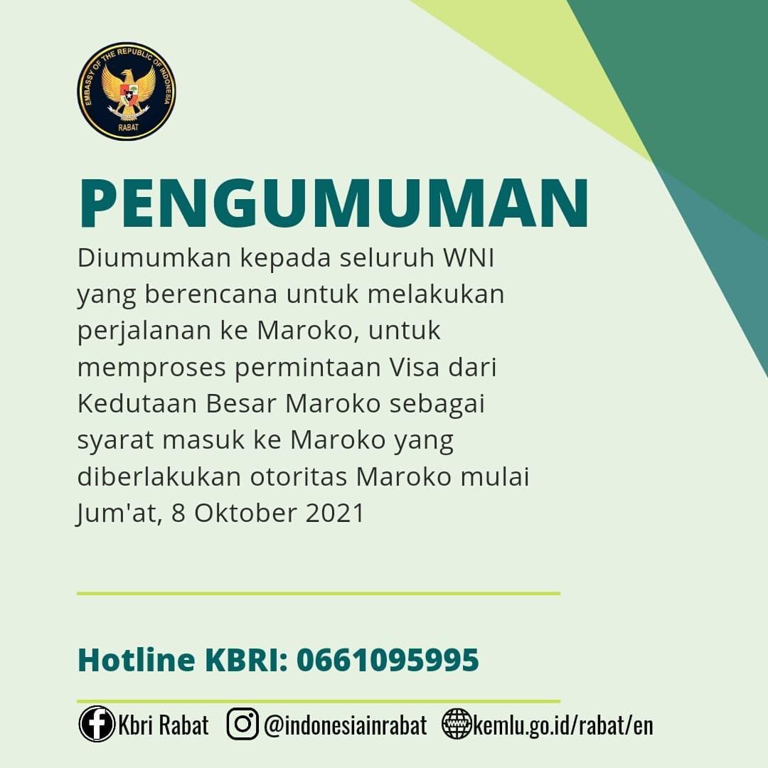 Informasi KBRI Rabat Maroko soal pemberlakuan visa untuk WNI, dilansir dari situs Kementerian Luar Negeri RI, Jakarta, Selasa (12/10).